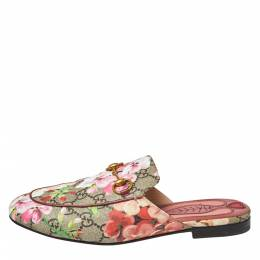 Gucci Pink GG Canvas Blooms Princetown Mule Sandals Size 36.5 364684