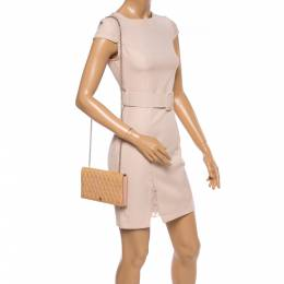 Fendi Beige Embossed Patent Leather Flap Chain Clutch 364753