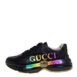 Gucci Black Leather Rhyton Gucci Logo Sneakers Size 42 364752