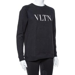 Valentino Black Cotton Knit VLTN Print Sweatshirt S 364761