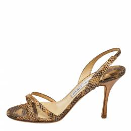 Jimmy Choo Two Tone Embossed Python Leather Jag Cross Strap Slingback Sandals Size 36.5 364974