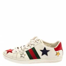 Gucci White Leather Ace Web Star Low Top Sneakers Size 37 364429