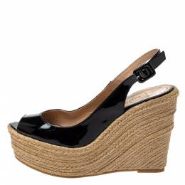 Valentino Black Patent Leather Wedge Platform Espadrilles Slingback Sandals Size 37 364604