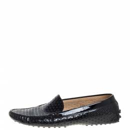 Tod's Black Laser Cut Patent Leather Driving Loafers Size 37.5 364609