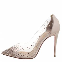 Christian Louboutin Beige Leather And PVC Degrastrass Crystal Embellished Pumps Size 35.5 364777
