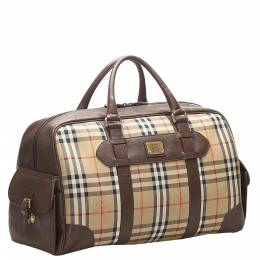 Burberry Brown Haymarket Check Canvas Travel Bag 358520