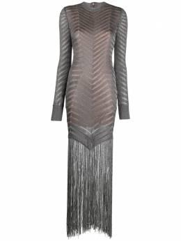 Herve Leger коктейльное платье с бахромой 46CMF8331351