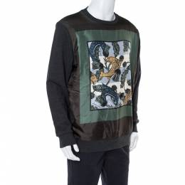 Burberry Black Printed Silk & Knit Sweatshirt XL 365136