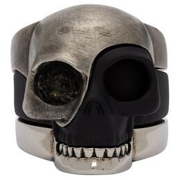 Alexander McQueen Silver and Black Divided Skull Ring 554499IAG2Z