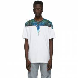 Marcelo Burlon County Of Milan White and Blue Neon Wings T-Shirt CMAA018R21JER0010169