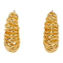 Bottega Veneta Gold Coil Hoop Earrings 649276 VAHU0