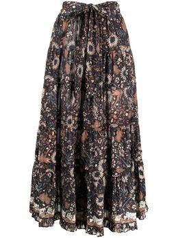 Ulla Johnson ярусная юбка с цветочным принтом PS210307