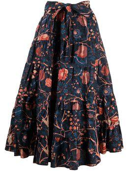 Ulla Johnson ярусная юбка с цветочным принтом PS210306