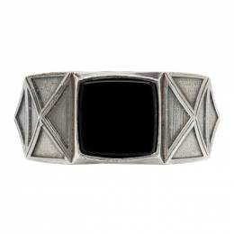 Emanuele Bicocchi Silver and Black Square Ring RMA1