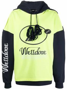 We11Done двухцветное худи с логотипом WDSS720081UYE
