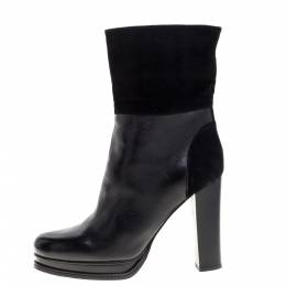 Dandg Black Leather and Suede Ankle Boots Size 38.5 363460