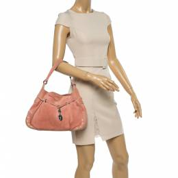 Tory Burch Pink Pleated Suede Charm Shoulder Bag 364495
