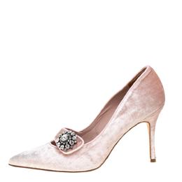Manolo Blahnik Pink Velvet Decebalo Pointed Toe Pumps Size 37 364808