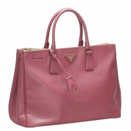 Prada Red Saffiano Leather Lux Double Zip Bag 363754