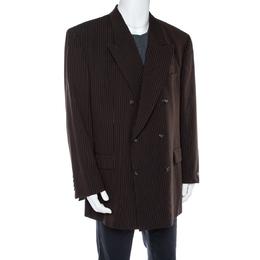 Yves Saint Laurent Vintage Brown Wool Double Breasted Jacket 3XL 365234
