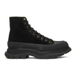 Alexander McQueen Black Suede Tread Slick High Boots 627206WHBGU