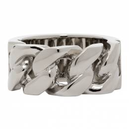 Alexander McQueen Silver Snake and Tag Chain Ring 576873J160Y