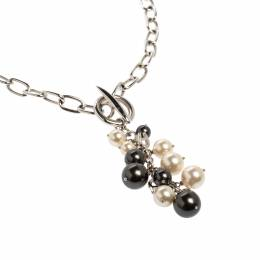 Aigner Silver Tone Faux Pearl Tasseled Necklace 365071