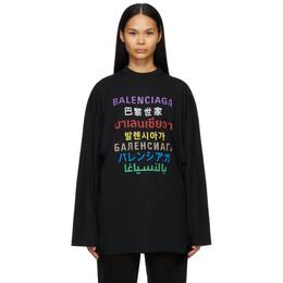 Balenciaga Black Languages Medium Fit T-Shirt 641583 TJVI3