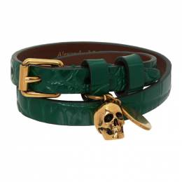 Alexander McQueen Green Croc Double Wrap Bracelet 630990 1JM11