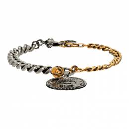 Alexander McQueen Silver and Gold Crow and Skull Chain Bracelet 651091J160K