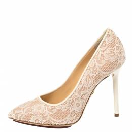 Charlotte Olympia Beige Lace and Mesh Monroe Pointed Toe Pumps Size 37 366488
