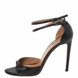 Alaia Black Leather Ankle Strap Sandals Size 38 366461
