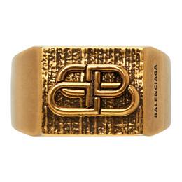 Balenciaga Gold Textured BB Ring 593542 TZ99J