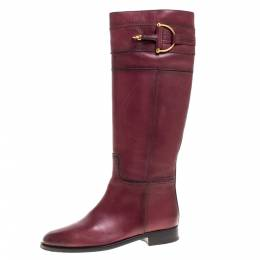 Gucci Red Leather Knee High Boots Size 37.5 366474