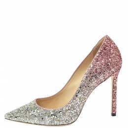 Jimmy Choo Two Tone Metallic Glitter Romy 100 Pointed Toe Pumps Size 39 366058