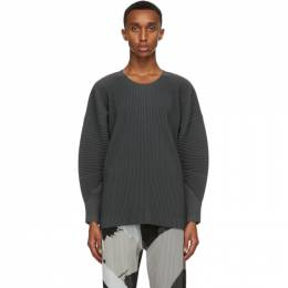 Homme Plisse Issey Miyake Grey Monthly Colors September Long Sleeve T-Shirt HP08JK117