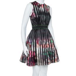 Elie Saab Multicolor Printed Silk Panelled Sleeveless Flared Dress S 367118