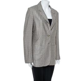 Missoni Gold & Grey Lurex Knit Blazer L 366785
