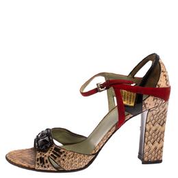 Prada Multicolor Python And Leather Embellished Ankle Strap Sandals Size 39.5 366672