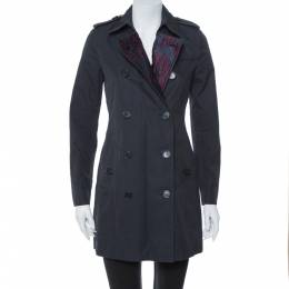 Burberry Midnight Blue Gabardine & Jacquard Lapel Detail Trench Coat S 366468