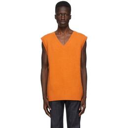 The Elder Statesman SSENSE Exclusive Orange Heavy Vest 200578