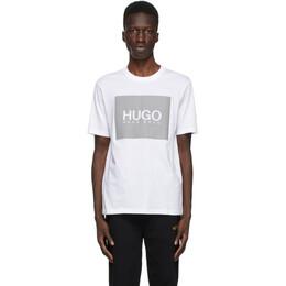 Hugo White and Grey Reflective Logo T-Shirt 50442929
