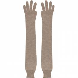 The Row Taupe Cashmere and Silk Besede Gloves 5504-F457