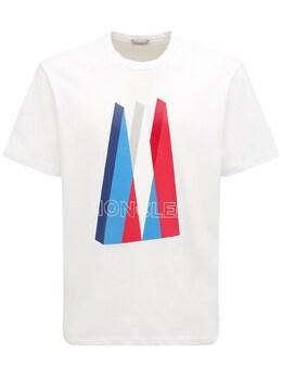 Футболка Из Хлопкового Джерси С Принтом Логотипа Moncler 72I3EU041-MDAx0