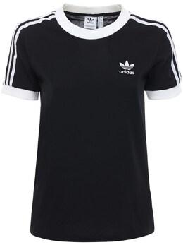 Хлопковая Футболка 3 Stripes Adidas Originals 72I0N6010-QkxBQ0s1