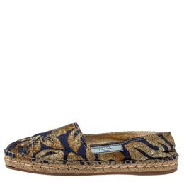 Prada Gold/Blue Brocade Fabric Slip On Espadrilles Size 39.5 366314