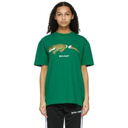 Palm Angels Green Croco T-Shirt PMAA001R21JER0025755