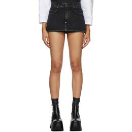 Pushbutton SSENSE Exclusive Black Miniskirt Shorts PB1910408W