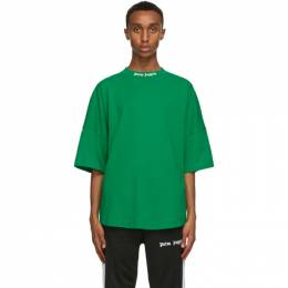 Palm Angels Green Classic Logo T-Shirt PMAA002R21JER0015701