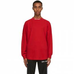 Palm Angels Red Logo Long Sleeve T-Shirt PMAB001R21JER0012501